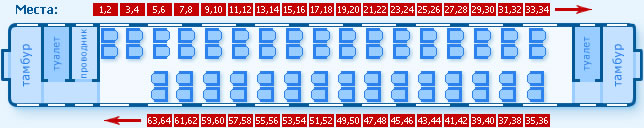 Схема мест в вагоне 1с